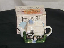 Olde World Collection Miniature Thatched Cottage Tea Pot with original box.c1995