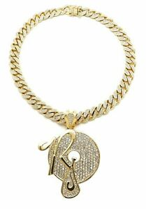 DIAMOND ROCAFELLA JAY Z PENDANT GOLD CUBAN LINK CHAIN NECKLACE HIP HOP RAPPER
