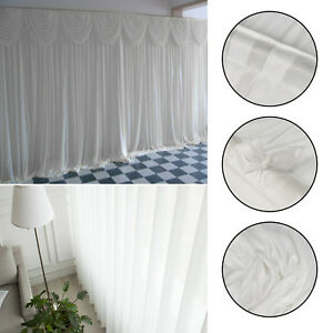 3M X 3M White Backdrop Curtains Wedding Party Ice Silk Detachable Decorations