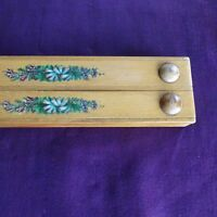 Vintage Wood Artists Box Pencil Pen Blue French Antique Art Supplies Desktop.