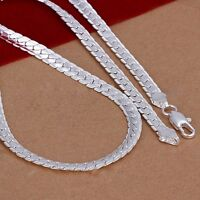 "5mm 925 Sterling Silber Halskette Kette 20 ""zoll Mode Männer Frauen PA"
