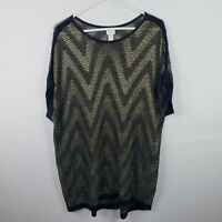 Chicos Women Top Size 3 XL Blue Gold Sheer Striped Tunic Scoop Neck Short Sleeve