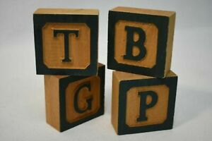 Country Vermont Wooden Painted Letter Blocks 4X B/G/P/T Home Decor 2.5 x 1in.