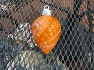Orange Slag Glass Acorn Pattern Lightning Rod Ball Pendant