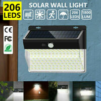 206 LED Outdoor Solar Power Wall Lamp Motion Sensor Security Flood Garden Light
