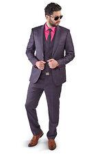 Slim Fit Men Suit Purple 2 Button Checkered Windowpane Plaid Vest Optional Azar Long 38 Jacket 32 Waist 34 Length 3 Piece With Matching Vest