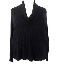 Lauren Ralph Lauren Women's Pullover Cable Knit Sweater 3X Black Silk Cashmere