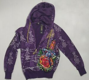 CHRISTIAN AUDIGIER Purple Hand Grenade Heart Sword Hoodie Men's Med