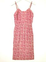 Vintage paisley sheath dress shimmer pink cream size xs small ?? READ