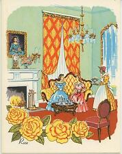 VINTAGE YELLOW ROSES SOUTHERN HOUSE CHANDELIER PRINT SHRIMP LOUISIANA NOTE CARD