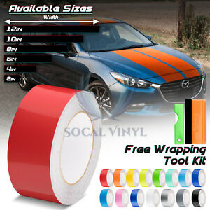 Gloss Color Racing Stripes Vinyl Wrap For Mazda 3 Stripe Sticker 25FT / 50FT