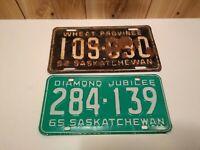 Vintage Saskatchewan license plates lot of 2 1952 Wheat & 1965Jubilee