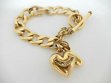 "Juicy Couture Starter Charm Bracelet Gold Tone Toggle 7.5"" B357"
