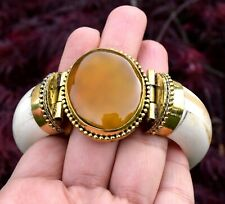 Yellow Amber Stone Bone Bangle Bracelet Tribal Ethnic Bohemian African Jewelry