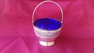 ANTIQUE INTERNATIONAL STERLING SILVER COBALT GLASS PIERCED SUGAR BASKET