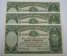 1st Prefix TRIO - 1952 George VI One Pound in uncirculated condition. Investment
