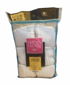 VTG 90s Hanes Her Way Women's White Ribbed Cuff Socks - 6 pack HTF Rare!!!!