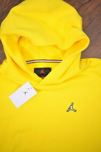 NWT Nike Jordan Essentials Fleece Pullover Hoodie Yellow Men's XL