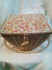 Vintage Dritz Wicker Woven Floral Sewing Basket Original Tag With Notions!