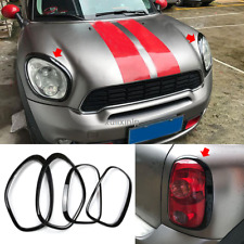 For 2011-2016 Mini Countryman R60 Black Front+Rear Light Lamp Cover Trim 4pcs