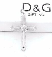DG Men's 925 Sterling Silver,42x25mm Cross Iced-Out CZ Charm Pendant.Unisex +Box