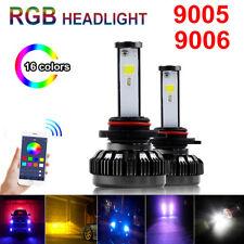 2x RGB 9005 9006 HB3 Car LED Headlight Driving Fog Bulbs Ballast Kit APP Control