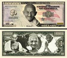 Gandhi Million Dollar Bill Collectible Fake Play Funny Money Novelty Note
