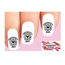 Waterslide Nail Decals Set of 20 - Firefighter's Wife Black
