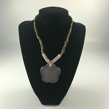 Vintage inspired necklace with pink floral pendant