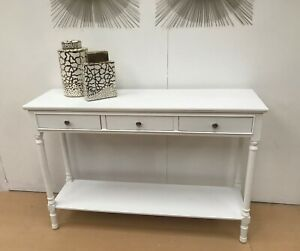 FEVERHSAM White Console Table, kitchen hallway console table, 3 drawers,shelf