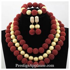 Red with Gold Ball Wedding Bridal Party African Beads Necklace Jewelry Set