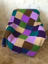 Hand Knitted Squares Afghan...Colorful Knitting Blanket...