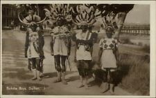 Durban South Africa Black Ricksha Boys in Costume Real Photo Postcard