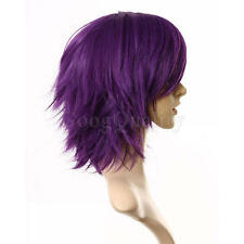Dark Purple Women Fashion Short Straight Hair Girl Full Wigs wig Cosplay Party