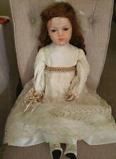 "Antique Repro Bru Jne Porcelain Doll 24"" ""Bruj Tm 13"" , Beautiful Dress"