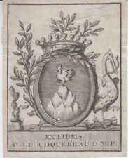 Ex-libris héraldique Charles-Jean-Louis COQUEREAU (1744-1796), médecin à Paris.