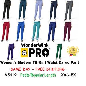 Wink WonderWink Pro Scrub Pant 5419  Knit Waist Cargo Pant  XXS to 5XL ~NEW~