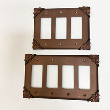 Fancy Oil Rubbed Copper Bronze Metal 3 Or 4 Rocker Switch Plate Wall Cover