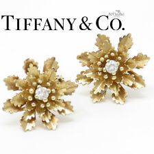 NYJEWEL Tiffany & Co. 14K Yellow Gold Snowflake 0.42ct Diamond Clip On Earrings