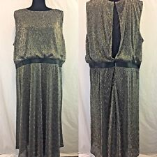 Chico's womens metalic silver party evening dress split back plus size 4