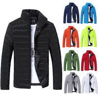 Men Winter Solid Color Hooded Thick Padded Jacket Zipper Slim Outwear Coat Warm