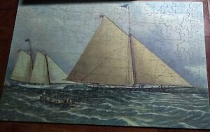 Vintage wooden jigsaw puzzle c1950s Cutter Yacht Maria Currier Complete Figural