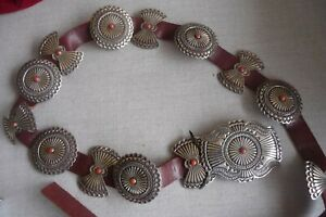 OLD PAWN NATIVE AMERICAN CONCHO BELT STERLING SILVER CORALSIGNED LM