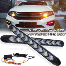 9 LED Headlight Light DRL Red 3k Amber Arrow Flasher Turn Signal Flowing Dynamic