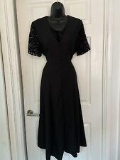 Debenhams Vintage Negro Verano Fiesta una línea Botones Vestido Talla 12