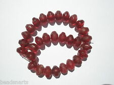 Antique Bohemian Cranberry Vaseline type bicone Trade Beads - 15x11mm - 30