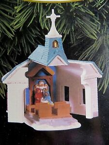 "Hallmark COME ALL YE FAITHFUL Church Opens Nativity '96 Ornament # QX6244 NOS 4"""