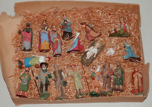 19 St. alte Krippenfiguren/Masse-Krippenfigur-Marolin-Elastolin-Leyla-ca 1940/50