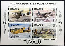 1998 TUVALU 80TH ANV. OF THE RAF STAMPS SHEET OF 3 AIRPLANE AIRCRAFT SOPWITH PUP
