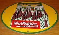 """VINTAGE 1940 """"DRINK DR PEPPER 6 PACK SODA"""" 11 3/4"""" PORCELAIN METAL GAS OIL SIGN!"""